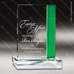 Crystal Green Accented Guardian Rectangle Trophy Award Green Accented Crystal Awards