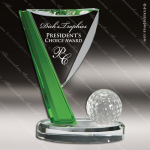 Crystal Sport Green Accented Golf Flag Trophy Award Green Accented Crystal Awards