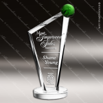 Crystal Green Accented Conception Globe Trophy Award Green Accented Crystal Awards