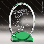 Macnair Oval Glass Green Accented Double Arch Glass Award Green Accented Crystal Awards