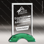 Macnair Rectangle Glass Green Accented Double Arch Trophy Award Green Accented Crystal Awards