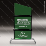 Crystal Green Accented Frequency Trophy Award Green Accented Crystal Awards