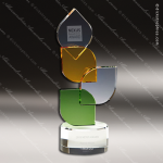 Crystal Green Accented Green Leaf & Amber Parody Trophy Award Green Accented Crystal Awards