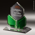 Crystal Green Accented Element Crystal Trophy Award Green Accented Crystal Awards