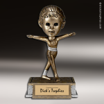 Kids Resin Tyke Bobble Head Series Gymnastics Girls Trophy Awards Gymnastics Trophy Awards