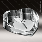 Crystal Clear Slant Heart Paperweight Trophy Award Heart Shaped Crystal Awards