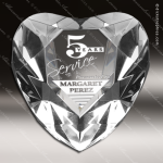 Crystal  Diamond Edge Heart Paperweight Trophy Award Heart Shaped Crystal Awards