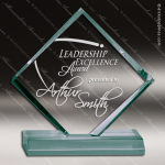 Acrylic  Jade Accented Diamond Jewel Trophy Award Jade Acrylic Awards