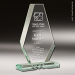 Glass  Jade Accented Faceted Tower on Decor Base Engravable Trophy Award Jade Glass Awards