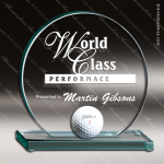 Glass Jade Accented Circle Golf Hole-In-One Trophy Award Jade Glass Awards