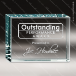 Glass Jade Accented Rectangle Starphire Banner Trophy Award Jade Glass Awards