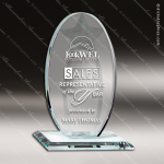 Glass Jade Accented Circle Oval Leading Star Trophy Award Jade Glass Awards