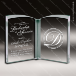 Mabus Book Glass Jade Accented Open Book Trophy Award Jade Glass Awards