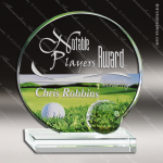 Mabus Greens Glass Jade Accented Golf Theme Trophy Award Jade Glass Awards