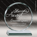 Mabus Sphere Glass Jade Accented Round Circle Diamond Edge Trophy Award Jade Glass Awards