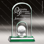 Mabus Golf Glass Jade Accented Arch Trophy Award Jade Glass Awards