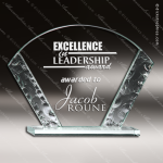 Tabour Fan Glass Jade Accented Arch Shaped Sculpted Edge Trophy Award Jade Glass Awards