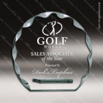 Pachello Scallop Glass Jade Accented Round Circle Trophy Award Jade Glass Awards