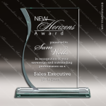 Pachello Wave Glass Jade Accented Rectangle Trophy Award Jade Glass Awards
