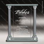 Pachello Column Glass Jade Accented Dual Pillar Trophy Award Jade Glass Awards