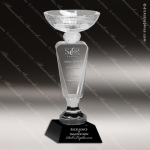 Crystal Cup Black Accented Pedestal Bowl Trophy Award JDS Industies Crystal Trophy Awards