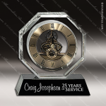 Engraved Crystal Desk Clock Gold Accented Skeleton Movement Trophy Award JDS Industies Crystal Trophy Awards
