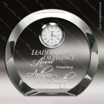 Engraved Crystal Desk Clock Silver Accented Round Trophy Award JDS Industies Crystal Trophy Awards