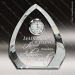 Engraved Crystal Desk Clock Silver Accented Arrowhead Trophy Award JDS Industies Crystal Trophy Awards