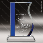 Crystal Blue Accented Wave Trophy Award JDS Industies Crystal Trophy Awards