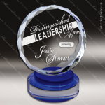 Crystal Blue Accented Modern Round Circle Trophy Award JDS Industies Crystal Trophy Awards