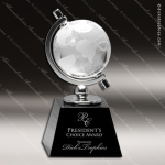 Crystal Black Accented Globe In Semi-Meridian Holder Trophy Award JDS Industies Crystal Trophy Awards