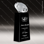 Crystal Black Accented Gem Cut Diamond Tower Trophy Award JDS Industies Crystal Trophy Awards