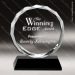 Crystal Black  Accented Circle Diamond Edged Trophy Award JDS Industies Crystal Trophy Awards