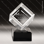 Crystal Black Accented Cube Trophy Award JDS Industies Crystal Trophy Awards