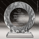 Crystal  Tray Round Circle Plate On Base Trophy Award JDS Industies Crystal Trophy Awards