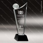 Crystal Sport Black Accented Golf Ball Wave Trophy Award JDS Industies Crystal Trophy Awards