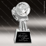 Crystal  Globe in Hand Award Trophy Award JDS Industies Crystal Trophy Awards