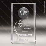 Crystal  Rectangle Sphere Globe Trophy Award JDS Industies Crystal Trophy Awards