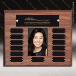 The Morvay Laminate Walnut Perpetual Plaque  13 Black Plates Photo Laminate Walnut Perpetual Plaques