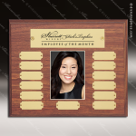 The Morvilla Laminate Walnut Perpetual Plaque  13 Gold Plates Photo Laminate Walnut Perpetual Plaques
