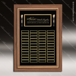 The Trisdale Walnut Framed Perpetual Plaque  48 Black Plates Large Perpetual Plaques - 40-100 Plates