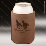 Engraved Leather Beverage Holder Dark Brown Laser Etched Gift Leather Beverage Holders