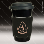 Engraved Leather Beverage Mug Sleeve Black Laser Etched Gift Leather Beverage Mug Sleeves