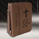 Laser Engraved Leather Book Or Bible Zipped Cover Dark Brown Etched Gift Leather Book/Bible Cover
