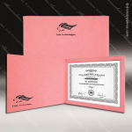 The Japel Engraved Leather Certificate Holder Pink With Black Letters Leather Certificate Holders