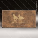 Laser Engraved Leather Checkbook Cover Rustic Gold Etched Gift Leather Checkbook Covers
