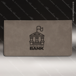 Laser Engraved Leather Checkbook Cover Gray Etched Gift Leather Checkbook Covers