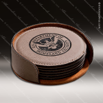 Laser Engraved Leather Coaster Set Round Stitched Edge Light Brown Etched G Leather Drink Coasters