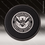 Laser Engraved Leather Coaster Round Stitched Edge Black Silver Etched Gift Leather Drink Coasters