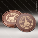 Laser Engraved Leather Coaster Set Round Stitched Edge Dark Brown Etched Gi Leather Drink Coasters